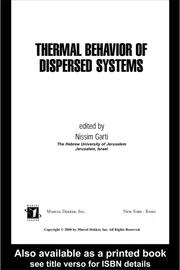 Thermal Behavior of Dispersed Systems - 1st Edition book cover