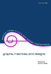 Graphs, Matrices, and Designs - 1st Edition book cover