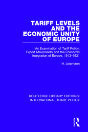 Tariff Levels and the Economic Unity of Europe - 1st Edition book cover