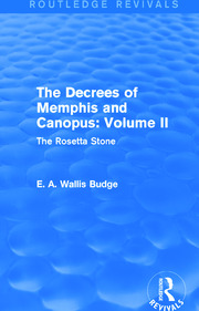 The Decrees of Memphis and Canopus: Vol. II (Routledge Revivals) - 1st Edition book cover