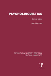 Psycholinguistics (PLE: Psycholinguistics) - 1st Edition book cover