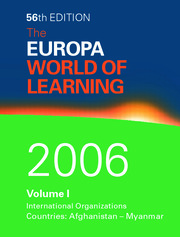 World of Learning 2006 Volume 1 - 1st Edition book cover