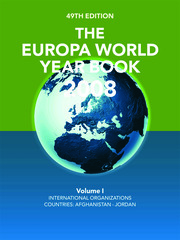 The Europa World Year Book 2008 Volume 1 - 49th Edition book cover