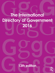 The International Directory of Government 2016 - 13th Edition book cover
