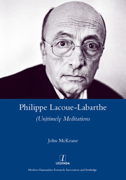 Philippe Lacoue-Labarthe : (Un)Timely Meditations - 1st Edition book cover